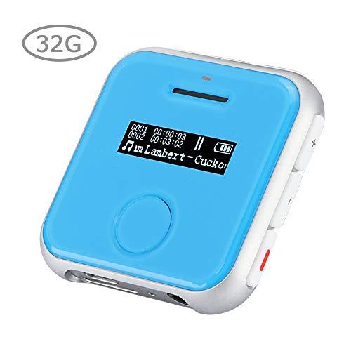 BTIHCEUOT Diktiergerät, Mini-MP3-Player, tragbarer Audio-Aufnahmestift mit HD-LCD-Bildschirm, Clip auf der Rückseite für Vorträge, Besprechungen, Interviews (blau)(32G)