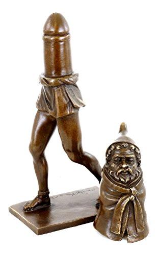 Kunst & Ambiente - Fruchtbarkeitsgott Priapus - Zweiteilige erotische Bronzefigur - antike Bronze Skulptur - Sex Statue - Phallus - Penis