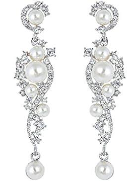 EVER FAITH® österreichischen Kristall Ivory farbe künstlich Perl Braut Ohrringe klar N04939-1