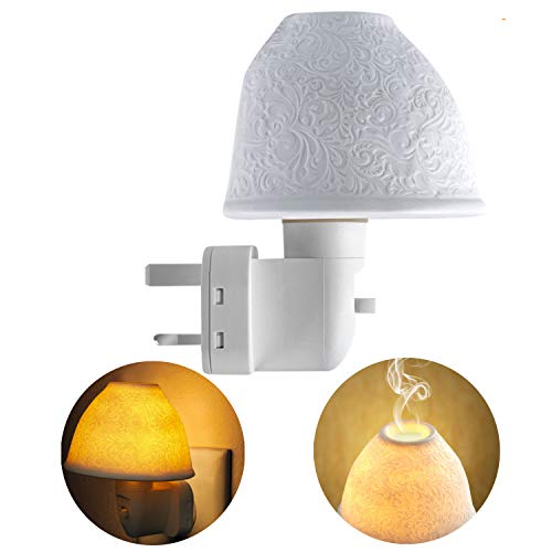 Plug in Night Light, Kimfly 2 in 1 Ceramic Aroma Essential Oil Lamp Art Wall Light with Tungsten Bulb,Lighting for Hallway,Children Room,Bedroom,Living Room