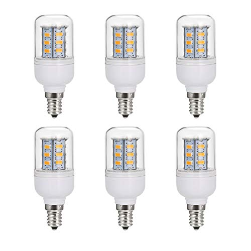 5W LED Candelabra Light Bulbs 50 Watt Equivalent, Warm White 2700K Non-Dimmable Decorative Edison Base Transparent Cover, Pack of 6 ()