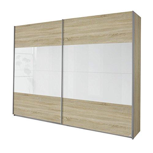 Rauch Schwebetürenschrank 2-türig, Eiche Sonoma, Glasabsetzung Weiß, BxHxT 270x230x62 cm