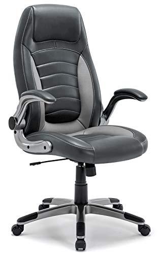 Bürostuhl, Ergonomischer Schreibtischstuhl, Bürodrehstuhl mit Hoher Rückenlehne und gepolsterten Armlehnen, 360°verstellbarer Chefsessel, Höhenverstellung und Wippfunktion für Büroarbeit (Hellgrau)