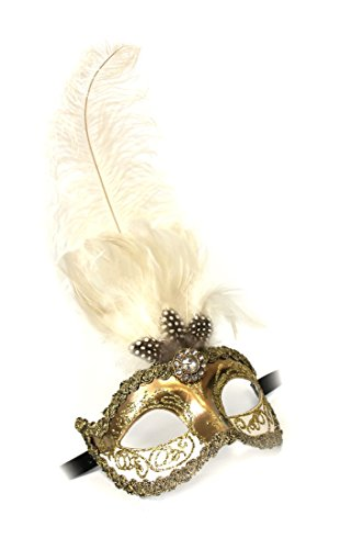 Unbespielt Handarbeit Original Venezianische Maske Damen Federmaske Colombina Sisi gold weiss