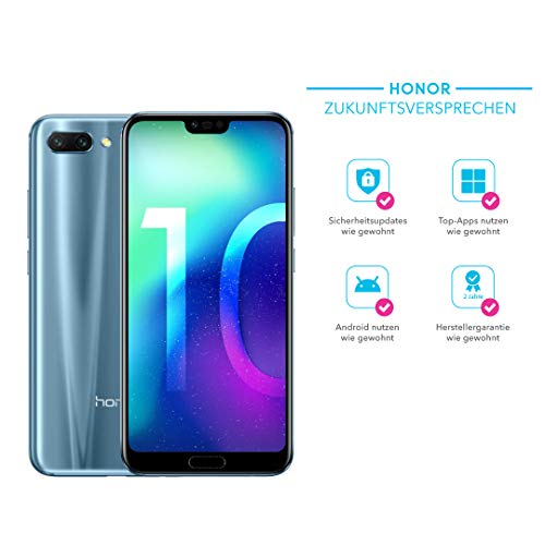 Honor 10 Smartphone (14,83 cm (5,84 Zoll), Full HD+ Touch-Display, 64GB interner Speicher, 4GB RAM, Silber - Deutsche Version