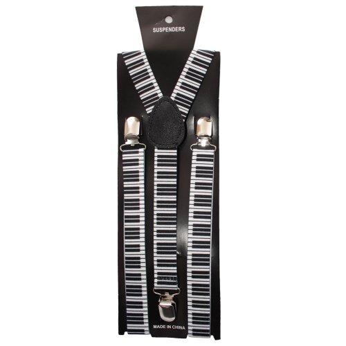 en Damen Unisex Verstellbare Einfarbige Neon Totenkopf Muster Hosenträger - Einheitsgröße, Schwarz Weiß Klavier (Hosenträger Klavier)