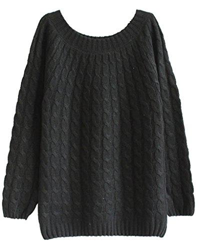 Minetom Donna Autunno Maglione Pullover Camicia Manica Lunga Felpe Camicetta Sweatshirt Top Nero One size