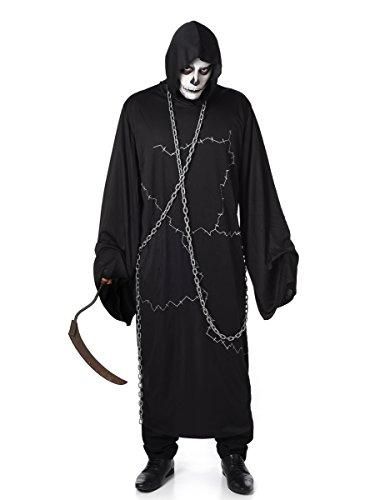 Ghostly Ghoul Mens Fancy Dress Halloween Sensenmann Scary Horror Erwachsene (Gent Ghostly Kostüme)