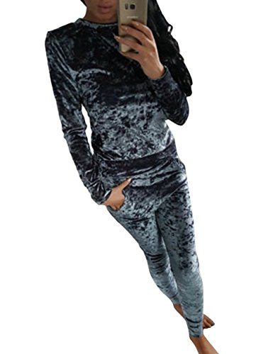 thinkmax-women-crushed-velour-velvet-sportsuit-jogger-lounge-top-and-pant-gray-s