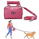 PEDOMUS Hundeleinen Tasche Futterbeutel für Hunde 2 in 1 Futtertasche mit Hundeleine und Henkel Leckerlibeutel Leckerlitasche für Hund 3 Fächern Wasserdicht (Pink)