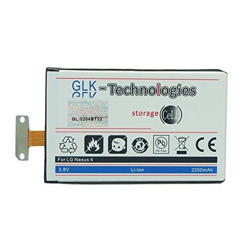 Original GLK-Technologies // Akku 2250 mAh // kompatibel mit LG Nexus 4 // E960 Optimus G E975 E970 BL-T5 NEU (Case Handy Lg E970)