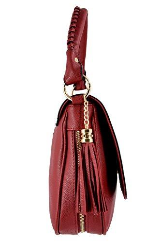 CRAZYCHIC - Damen Große Umhängetasche mit Troddel und Gold Reißverschluss - Handgelenk Tasche mit Schulterriemen - Zöpfe Henkel Handtasche - Mode Frau Henkeltasche Schultertasche - Schwarz Bordeaux Rot