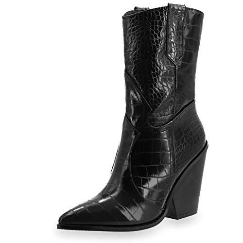 Marimo Damen Western Cowboy Stiefel Stiefeletten Boots Kroko-Look Lederoptik Blockabsatz Schwarz 40