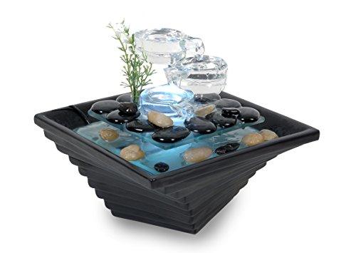 WeiVa Feng Shui Keramik - Glas Zimmerbrunnen mit LED