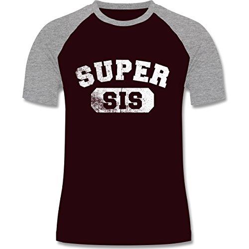 Statement Shirts - Super Sis - Vintage-&Collegestil - zweifarbiges Baseballshirt für Männer Burgundrot/Grau meliert