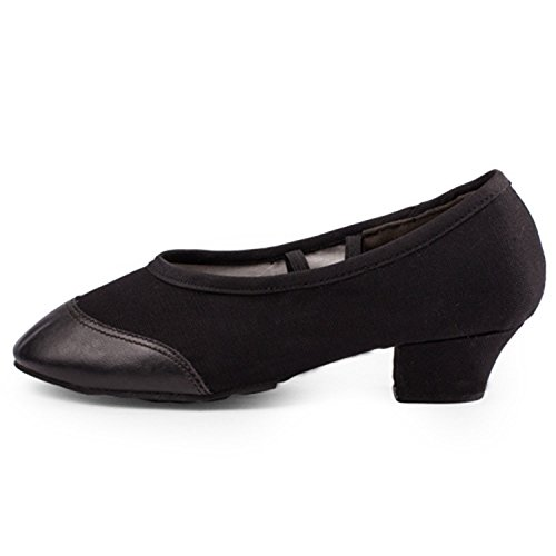 Azbro Women's Slip-on Soft Sole Low Heels Dance Shoes Black