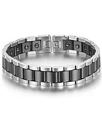 JewelryWe Schmuck Herren Magnet Armband, Edelstahl Keramik, Fashion I Rechteck Link Magnetarmband Armreif, Silber Gold Schwarz Weiß
