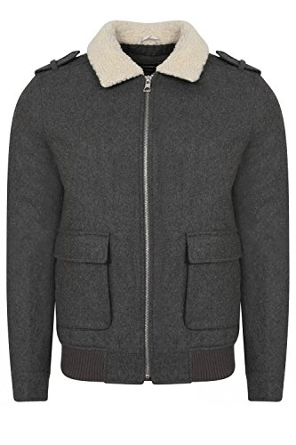 Tokyo Laundry Herren Steppjacke Jacke grau grau Gr. Größe-XL- 112 cm Brust, mid grey marl Faux Leather Trim Jacket