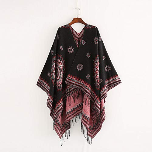 Alte Green Frauen bedruckten Winter Warm Tassel Shawl Reversible Blanket Poncho Cape Shawl Cardigans,C Reversible Poncho