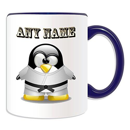 Personalisiertes Geschenk-Karate schwarz Gürtel Tasse (Pinguin in Kostüm Design Thema, Farbe Optionen)-alle Nachricht/Name auf Ihre einzigartige-Judo in weiß, keramik, blau -