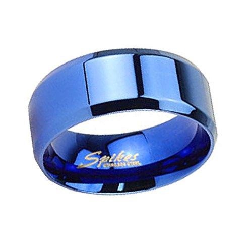 Piersando Band Ring Edelstahl poliert Bandring Ehering Partnerring Trauring Freundschaftsring Damen Herren Blau Größe 59 (18.8) 6mm Breit