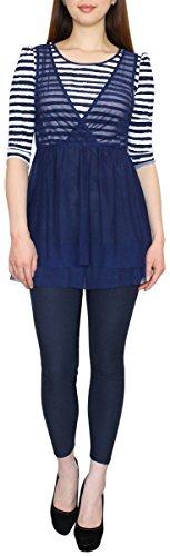 Longshirt mit Streifen und Spitzen Shirt Tunika Bluse Langarmshirt Kleid Damen Gr. S/M CX025-026 Royalblau