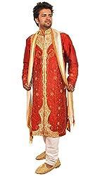 Apparelsonline Mens Dupion Silk Sherwani XS