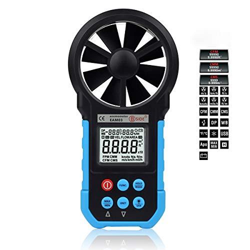 Anémomètre numérique Portable Vitesse du Vent température de l\'air Test de Volume d\'air Grand écran LCD affichage de rétroéclairage numérique, Commutation d\'unités Multiples