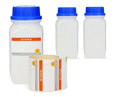 3x 500 ml Weithals-Flaschen mit Schraubverschluß, Chemiekalienflaschen, Laborflaschen mit Deckel als Aufbewahrungsbehälter für Labor, Küche oder Hobby
