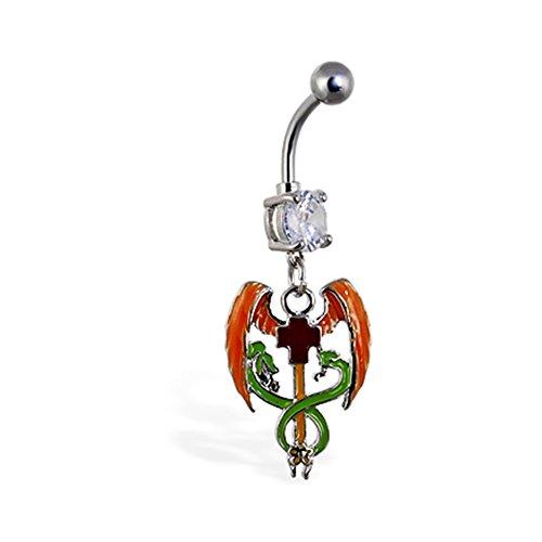 Bauch Ring mit baumelnder Medical Kreuz mit Flügel und Schlangen