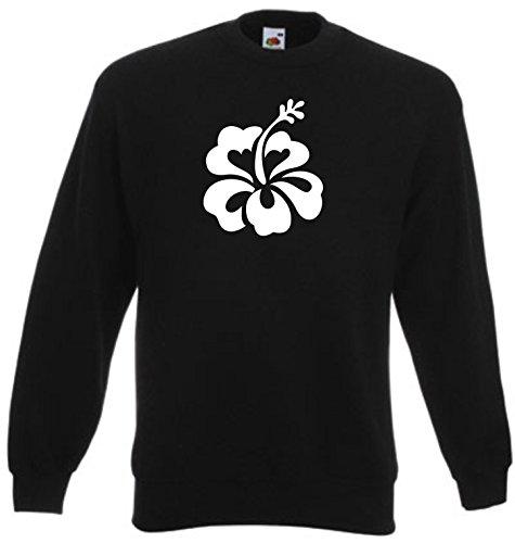 Hibiscus Flower Tattoos (Black Dragon - Sweatshirt Herren & Damen schwarz - XXL - Fruit of the Loom - bedruckt - mit farbigem Brustaufdruck - Hibiscus Decal Flower Car Truck Bumper Window Sticker)