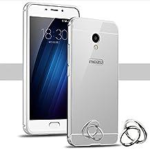 PREVOA Meizu M5 - Metal Bumper Frame Funda + Back Plastic Cover Case para Meizu M5 - Smartphone libre 4G 5.2 Pulgadas - Plata