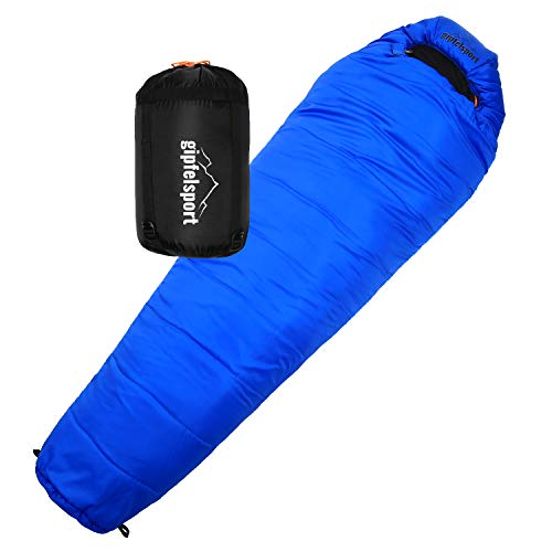 gipfelsport Mumienschlafsack - Outdoor Schlafsack für Erwachsene und Kinder | für Winter, blau