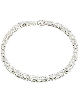925 Silberkette: Königsarmband Silber mit der Breite 4mm und auswählbare Länge 19cm und 21cm