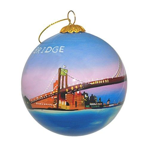 Handbemalt Glas Weihnachten Ornament-Brooklyn Bridge & NYC Skyline