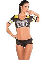 Baymate Cheerleading Uniforme Pom-Pom Girl Costume Manches Courtes Femmes