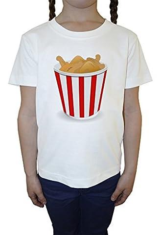 Frit Poulet Bambini Ragazze T-Shirt Girocollo Bianco Cotone Maniche Corte