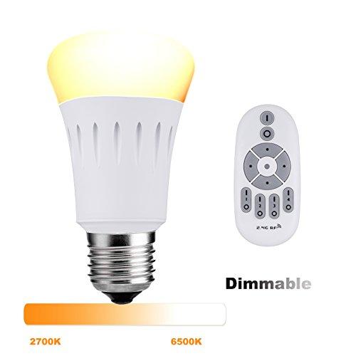 Lampaous® Dimmbar E27 Birne LED Lampe 9W, ersetzt 60W Halogenbirne 270° Intelligente Steuerbar Leuchte mit 2,4G Wifi Fernbedienung, Farbtemperatur von 2700K bis 6500K Warmweiß Weiß Kaltweiß