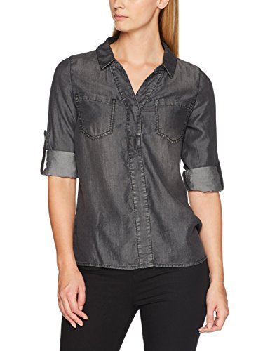 Street One Denim-Blouse,Black Tencel Washed, Camicia Donna Grau (authentic grey washed 11116)