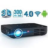 Beamer WOWOTO DLP Mini Beamer 3500Lumens 3D Full HD Projektor Multimedia Heimkino Videoprojektor Support 1080P Android Projector 4.4 OS mit Aufsatz HDMI WiFi Bluetooth USB SD VGA AV groß für Kommerz und Unterhaltung