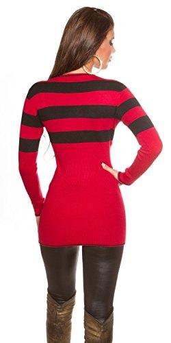 Koucla - Pull - Robe pull - Femme rouge/noir