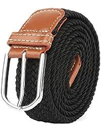 Cinturón elástico trenzado de calidad Mr con hebilla de cuero cubierta 688ab5a7d3f6