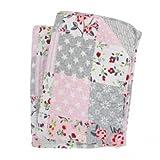 Krasilnikoff Tagesdecke Patchwork gedruckt rosa