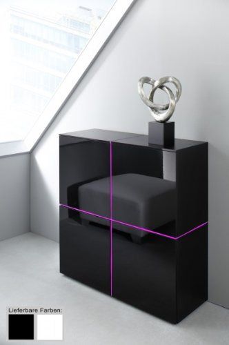 Dreams4Home Sideboard Square Highboard Raumteiler weiß o schwarz hochglanz opt LED-RGB-Beleuchtung, Beleuchtung:ohne Beleuchtung;Farbe:Schwarz