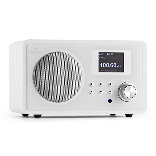 auna IR-150 WH • Internetradio • Digitalradio • WLAN-Radio • UKW-Radio mit 20 Senderspeichern • AUX • Equalizer-Funktion • Wecker • Sleep-Timer • Wetteranzeige • Börseninformationen • Fernbedienung • Retro-Design • Holzgehäuse • weiß