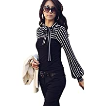 FOREVER YUNG Womens Casual Long Sleeve Sailors Striped Shirt with Bowtie Black L