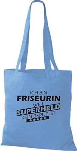 Shirtstown Stoffbeutel Ich bin Friseurin, weil Superheld kein Beruf ist hellblau
