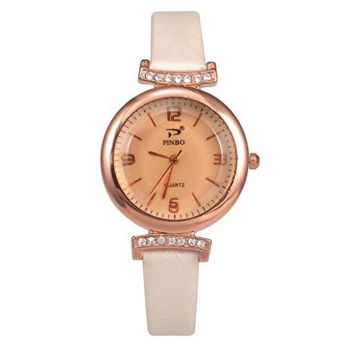 SHE.White Frauen Uhren Analog Quarz Rose Gold Armbanduhr Damen Mädchen Mode Elegant Beiläufig Uhr Einfachheit Geschäft Klassiker Damenuhren mit Strass