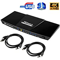 TESmart 4K KVM Switch HDMI 4X1 3840x2160@30Hz with 2 Pcs 5ft KVM Cables Supports USB 2.0 Device Control up to 4 Computers/Servers/DVR (Black)