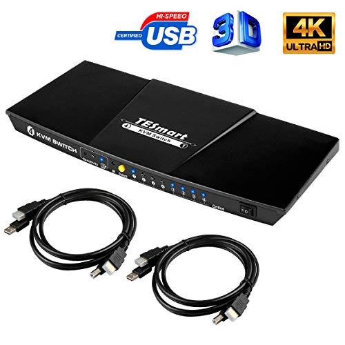 TESmart KVM Switch HDMI 4K 4 Input 1 Output 3840x2160@30Hz mit 2 Stück 5ft/1.5m KVM Kabeln unterstützt USB 2.0 Device Control bis zu 4 Computer/Server/DVR (Schwarz)